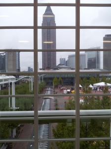A rare glimpse of the outside world, from within the Exhibition centre at Frankfurt.