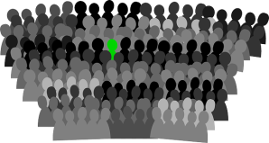 cardboard cutout silhouettes of people in grey and black, but one figure is bright green, standing out